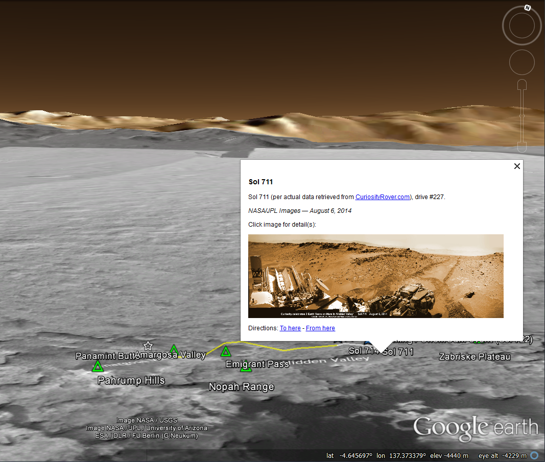 MSL on Google Earth