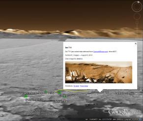 MSL on Google Earth near Hidden & Amagosa Valleys (on Mars)